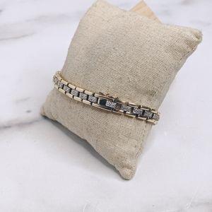 Gold plated sterling  diamond tennis bracelet